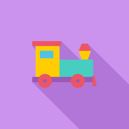 kid illustration: Train toy icon. Flat vector related icon with long shadow for web and mobile applications.