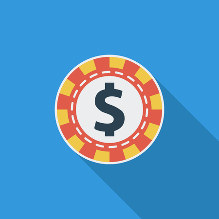 las vegas metropolitan area: Gambling chips icon. Flat vector related icon with long shadow for web and mobile applications. Illustration