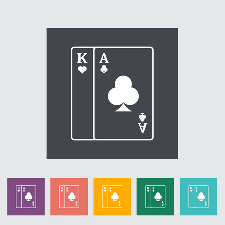 play card: Play card. Single flat icon on the button. Vector illustration.