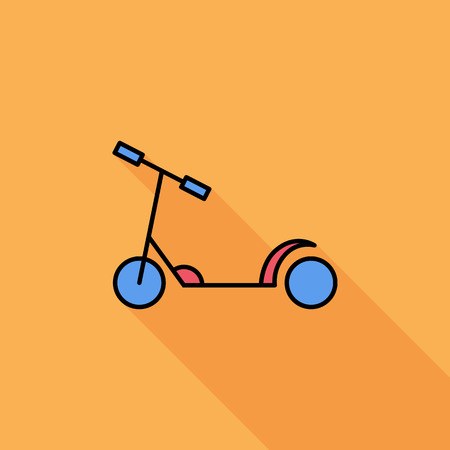 niño empujando: Scooter child icon. Flat vector related icon with long shadow for web and mobile applications. It can be used as - logo, pictogram, icon, infographic element. Vector Illustration.