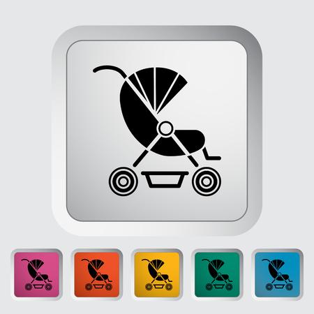 suckling: Icona Pram. Appartamento vettore icona correlata per il web e applicazioni mobili. Pu� essere utilizzato come - logo, pittogramma, icona, elemento infografica. Illustrazione vettoriale.