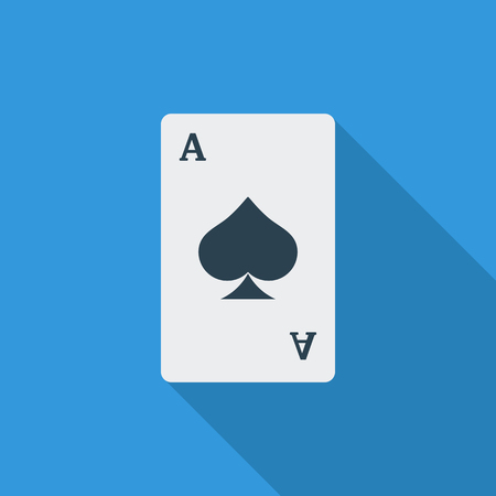 play card: Play card icon. Flat vector related icon with long shadow for web and mobile applications. It can be used as - logo, pictogram, icon, infographic element. Vector Illustration.