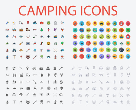 Camping icons set. Flat vector related icons with long shadow for web and mobile applications. It can be used as -  pictogram, icon, infographic element. Vector Illustration. Иллюстрация