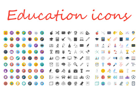 Education icons set. Flat vector related different styles icons set for web and mobile applications. It can be used as -  pictogram, icon, infographic element. Vector Illustration. Vettoriali