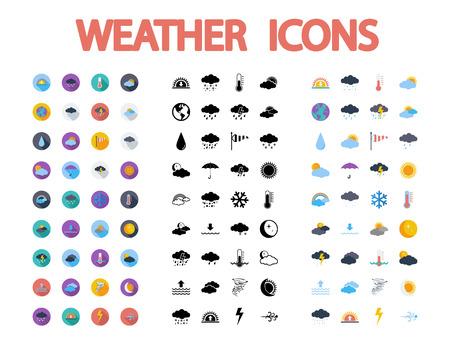 meteo: Icone del tempo impostato. Piatto vettoriale connessi diversi stili di impostare le icone per il web e applicazioni mobili. Può essere utilizzato come - pittogramma, icona, elemento infografica. Illustrazione vettoriale.