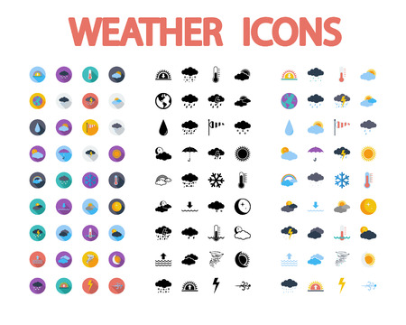 Weather icons set. Flat vector related  different styles icons set for web and mobile applications. It can be used as - pictogram, icon, infographic element. Vector Illustration. Vectores