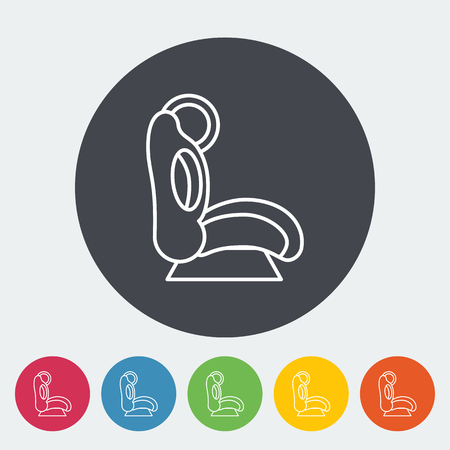 si�ge voiture: Child car seat icon. Thin line flat vector related icon for web and mobile applications. It can be used as -   pictogram, icon, infographic element. Vector Illustration.