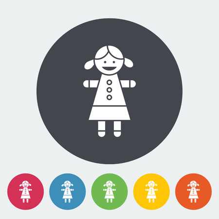 girl doll: Doll toy icon. Flat vector related icon for web and mobile applications. It can be used as -  pictogram, icon, infographic element. Vector Illustration.