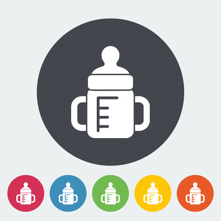 Feeding bottle icon. Thin line flat vector related icon for web and mobile applications. It can be used as -   pictogram, icon, infographic element. Vector Illustration.  イラスト・ベクター素材