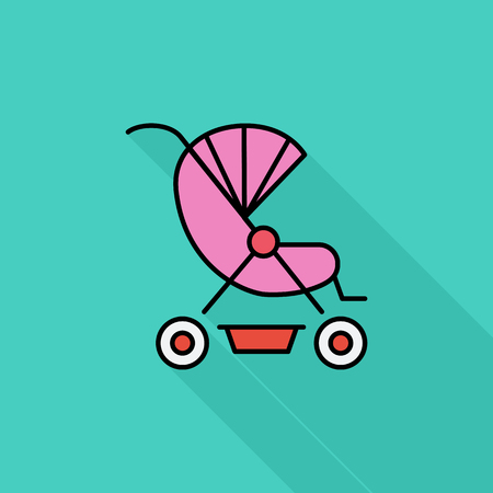 suckling: Pram icon. Flat vector related icon with long shadow for web and mobile applications. It can be used as -   pictogram, icon, infographic element. Vector Illustration. Vettoriali