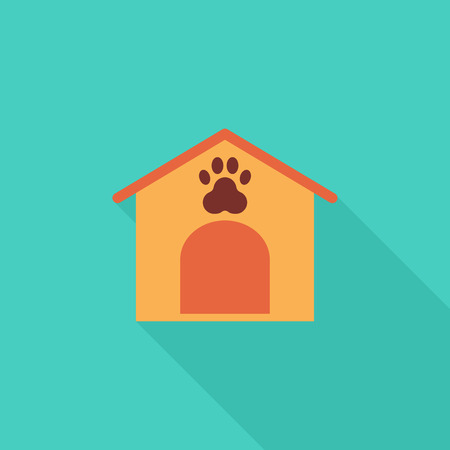 doghouse: Kennel icon. Flat vector related icon with long shadow for web and mobile applications. It can be used as -   pictogram, icon, infographic element. Vector Illustration.