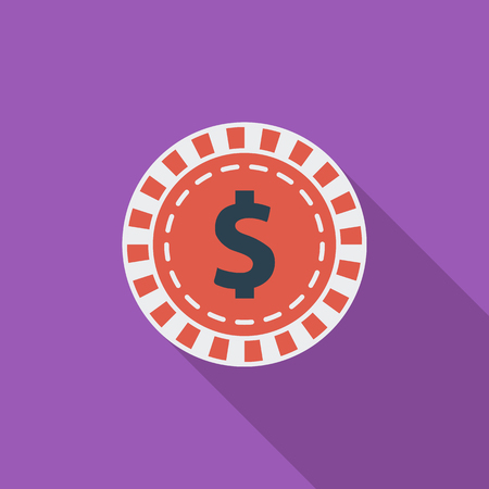 las vegas metropolitan area: Gambling chips icon. Flat vector related icon with long shadow for web and mobile applications. It can be used as -  pictogram, icon, infographic element. Vector Illustration. Illustration