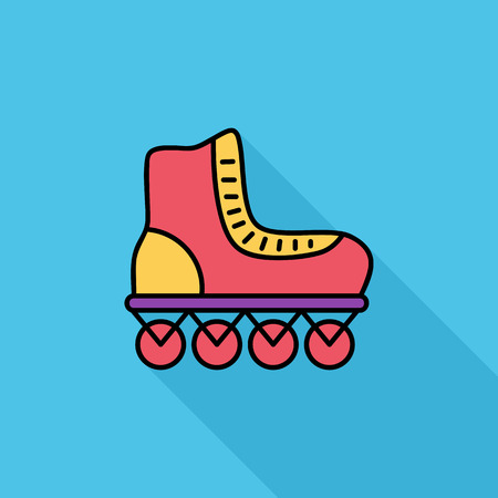 rollerskate: Roller icon. Flat vector related icon with long shadow for web and mobile applications. It can be used as -  pictogram, icon, infographic element. Vector Illustration.