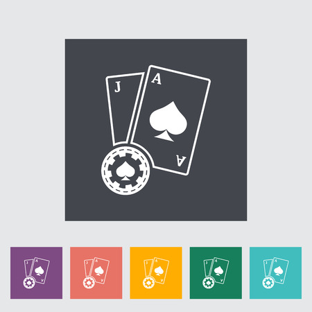 jack of hearts: Blackjack. Single flat icon on the button. Vector illustration. Illustration