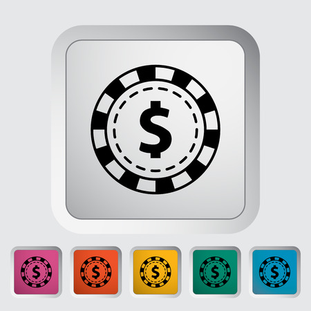 gambling chips: Gambling chips. Single flat icon on the button. Vector illustration.