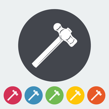 sledgehammer: Hammer. Single flat icon on the circle button. Vector illustration.
