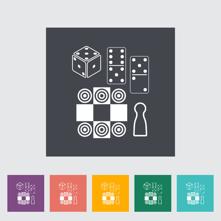 table games: Table games. Single flat icon on the button. Vector illustration.