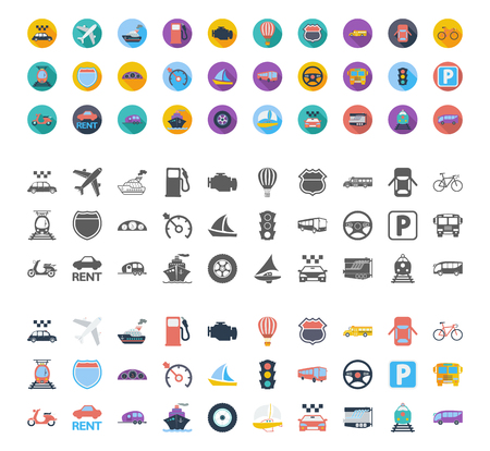 Transportation icons set. Flat vector related different styles icons set for web and mobile applications. It can be used as -   pictogram, icon, infographic element. Vector Illustration.