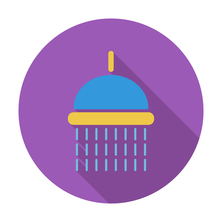 showering: Shower. Flat vector icon for mobile and web applications. Vector illustration. Illustration