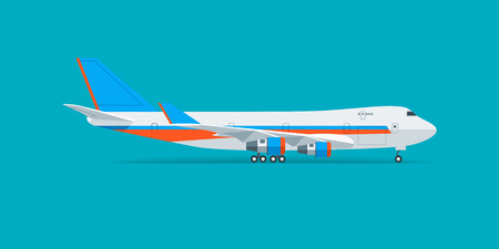 air liner: Vector cargo jet airplane flying in the sky.