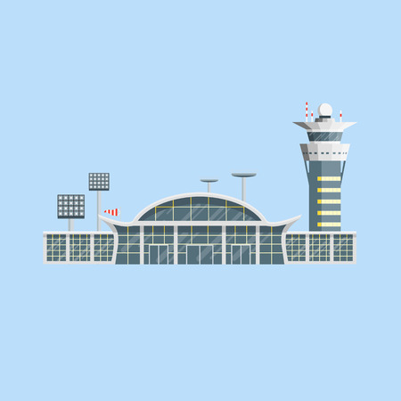 Airport building with control tower.
