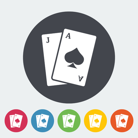 jack of hearts: Blackjack. Single flat icon on the circle button. Vector illustration.