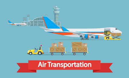 Air cargo transportation concept. Flat style illustration. Logistic concept.  It can be used as -pictogram, icon, infographic element. Vector Illustration.