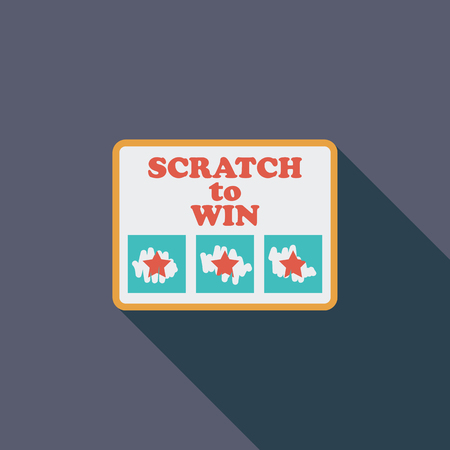 scratch card: Scratch card icon. Flat vector related icon with long shadow for web and mobile applications. It can be used as - logo, pictogram, icon, infographic element. Vector Illustration.