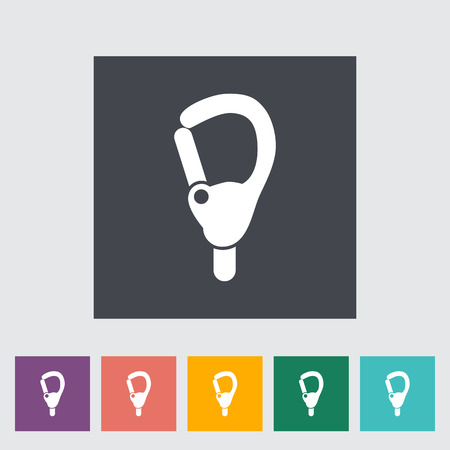 karabiner: Carabiner icon. Flat vector related icon for web and mobile applications. It can be used as - logo, pictogram, icon, infographic element. Vector Illustration.