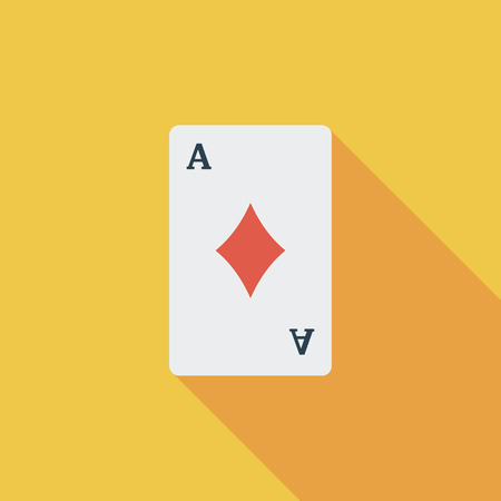 double the chances: Play card icon. Flat vector related icon with long shadow for web and mobile applications. It can be used as - logo, pictogram, icon, infographic element. Vector Illustration.