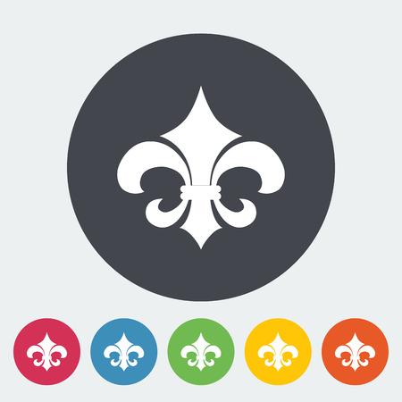 orleans symbol: Fleur. Single flat icon on the circle button. Vector illustration. Illustration
