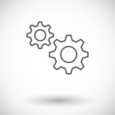 computer repairing: Gear. Single flat icon on white background. Vector illustration.