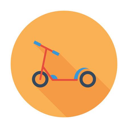 ni�o empujando: icono ni�o scooter. vector plana icono relacionado con una larga sombra para web y aplicaciones m�viles. Se puede utilizar como - logotipo, pictograma, icono, elemento de infograf�a. Ilustraci�n del vector. Vectores