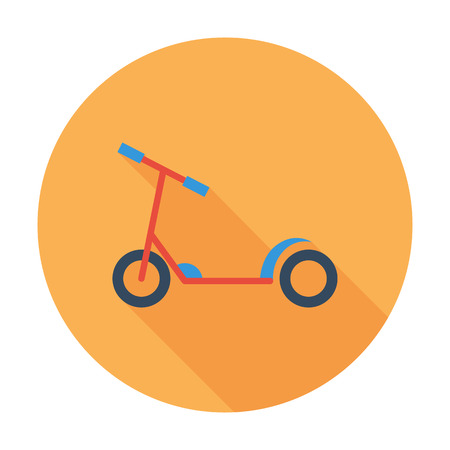 glide: Scooter child icon. Flat vector related icon with long shadow for web and mobile applications. It can be used as - logo, pictogram, icon, infographic element. Vector Illustration.