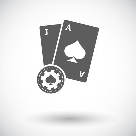 blackjack: Blackjack. Single flat icon on white background. Vector illustration.