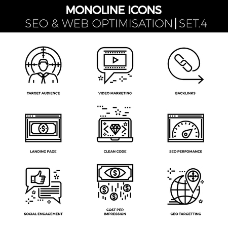backlinks: Line icons set with flat design of search engine optimization. Target audience, video marketing, backlinks, landing page, clean code, perfomance, social engagement, cost per impression. Monoline icons