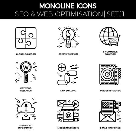 link building: Line icons set with flat design of seo. Global solution, creative service, e-commerce, keyword research, link building, target keywords, download information, mobile marketing, e-mail marketing