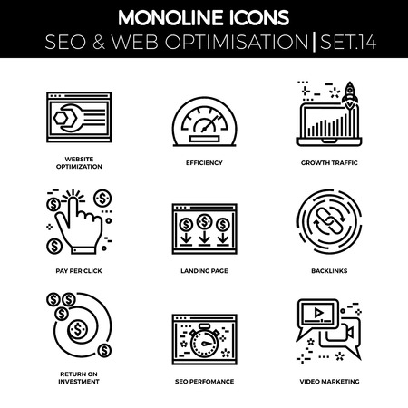 backlinks: Line icons set with flat design. Website optimization, efficiency, growth traffic, pay per click, landing page, backlinks, return on investment, seo perfomance, video marketing. Monoline icons