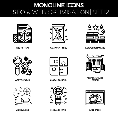 link building: Line icons set with flat design of search engine optimization. Anchor text, campaign timing, keywords ranking, active search, global solution, responsive web design, link building, page speed.