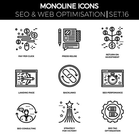 backlinks: Line icons set with flat design of seo. Pay per click, press relise, return on investment, landing page, backlinks, perfomance, consulting, strategy for victory, seo tag optimization. Monoline icons