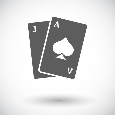 wagers: Blackjack. Flat icon on the white background for web and mobile applications. Vector illustration.
