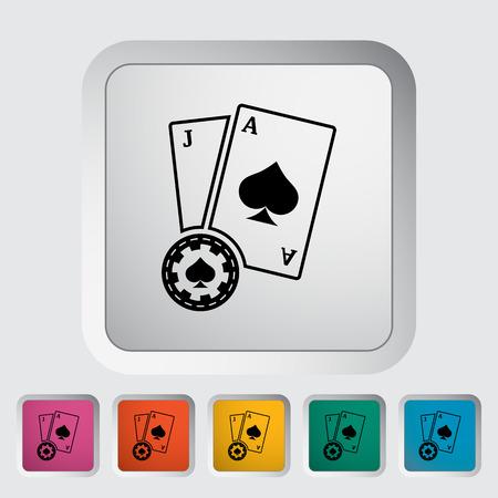 Blackjack. icona piatto unico sul pulsante.