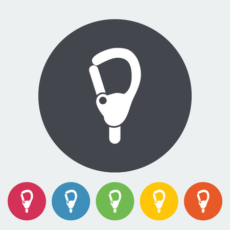 karabiner: Carabiner icon. Flat vector related icon for web and mobile applications. It can be used as - logo, pictogram, icon, infographic element.