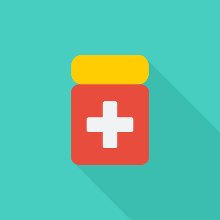 painkiller: Drug icon. Flat vector related icon with long shadow for web and mobile applications. It can be used as - logo, pictogram, icon, infographic element.