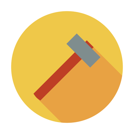 impact tool: Hammer icon. Flat vector related icon whit long shadow for web and mobile applications. It can be used as - logo, pictogram, icon, infographic element. Vector Illustration.