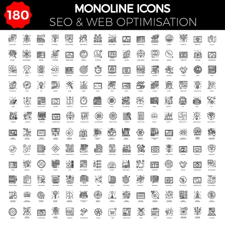 Thin Line Icons Set of Search Engine Optimisation.