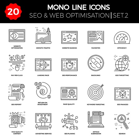 airplan: Thin Line Icons Set of Search Engine Optimization, Website and APP Design and Development. Simple Mono Line Pictogram Pack.