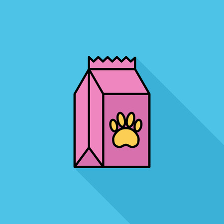 petshop: Pet food bag icon. Flat vector related icon with long shadow for web and mobile applications. It can be used as - logo, pictogram, icon, infographic element. Vector Illustration. Illustration