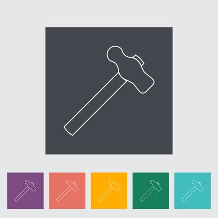 disruption: Hammer. Single flat icon on the button. Vector illustration.