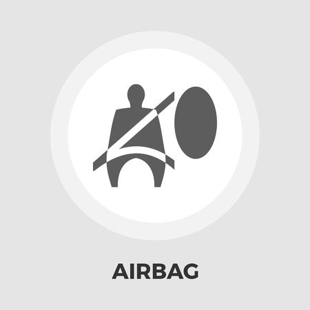 Vecteur d'icône airbag. Icône plate isolée sur fond blanc Illustration vectorielle